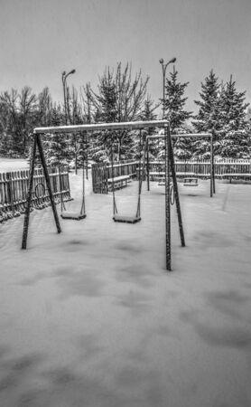 Winter playground in black and white