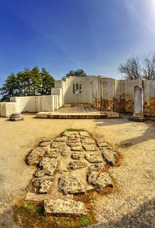 Ruins of ancient christian church in fish-eye perspective Stock Photo