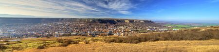 Beautiful view over town of Provadia in Bulgaria Imagens