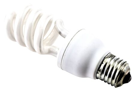 Energy saving bulb isolated on white background close up view Stock Photo