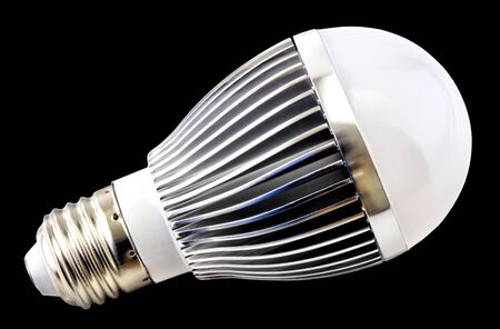 LED bulb isolated on black background close up view