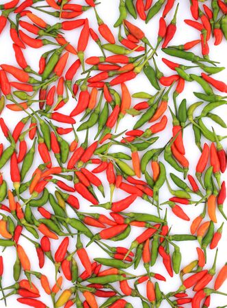 Green and red chili pepper on a white background Stock Photo - 17089922