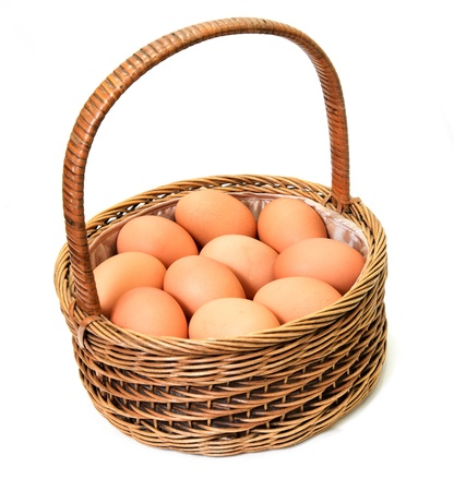 Eggs in a wood basket on a white background Stock Photo - 17089917