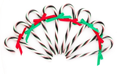 Chrismas candy canes on a white background