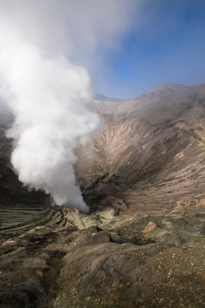 Mount bromo crater with gas eruption, East Java, Indonesia Stock Photo