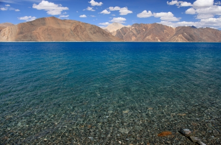 Pangong lake with clear blue sky, Ladakh, India