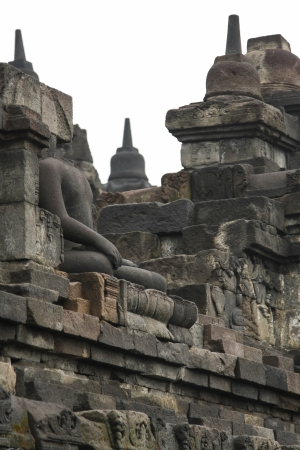 Headless buddha in borobudur Yogyakarta Indonesia photo