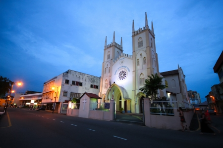 Church of St. Francis Xavier at twilight in Malacca, Malaysia Stock Photo - 17346595