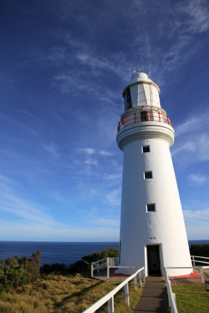 Cape Otway Lighthouse with a clear blue sky, Great Ocean Road, Australia