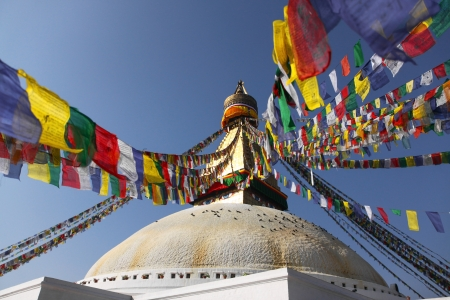 Bodhnath stupa with colorful flags in Kathmandu, Nepal Stock Photo - 17318089