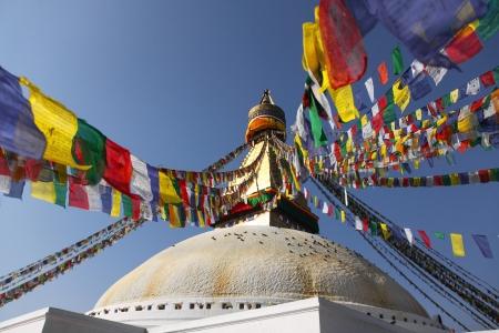 Bodhnath stupa with colorful flags in Kathmandu, Nepal Stock Photo - 17318089