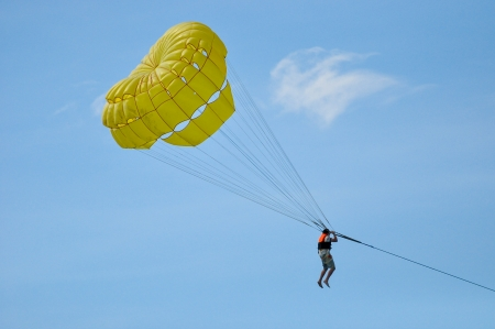 Parasailing in summer with cool breeze from the sea in Phuket, Thailand
