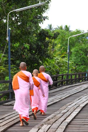 Female monks going out for food offering from other people Stock Photo - 17472937