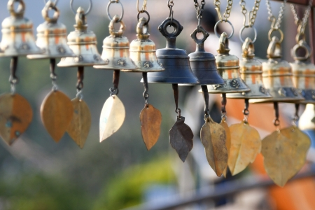 WInd bells hung in a temple in Nepal photo
