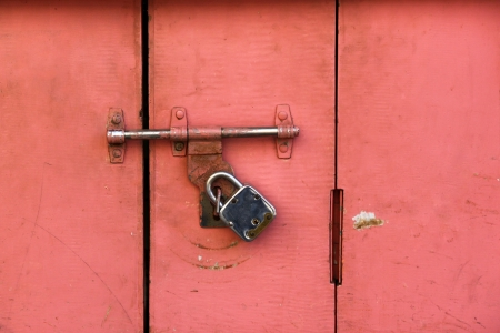 Colorful Ancient Door Locked By A Very Old Style Door Lock Stock Photo    18223350