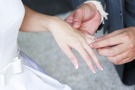groom's hand putting a wedding ring on the bride's finger photo
