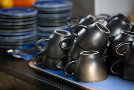Empty coffee cups are ready on the plate Stock Photo - 18540158