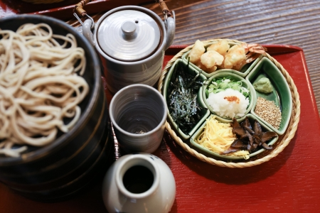 Japanese style cold soba noodle toppings on a tray photo