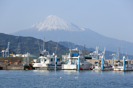 Motorboats at Shimizu port with mt. Fuji in background Stock Photo - 20738368