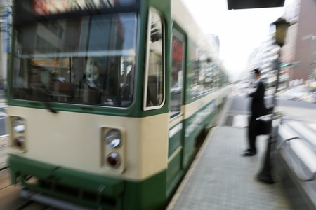 intentionally: Intentionally motion-blurred arriving train Stock Photo