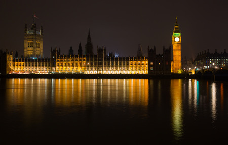 nightscene: House of the Parliament and Elizabeth Tower known as Big Ben in London, England, UK