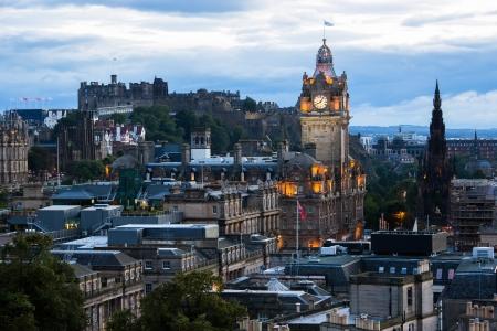 Edinburg cityscape at twilight with Edinburgh Castle in background, Edinburgh, Scotland, United Kingdom