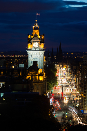 Edinburg cityscape at twilight with Edinburgh Castle in background, Edinburgh, Scotland, United Kingdom
