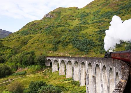 Jacobite stream train, Glenfinnan Viaduct, Scotland, UK