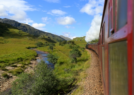 diesel train: Jacobite stream train, Glenfinnan Viaduct, Scotland, UK