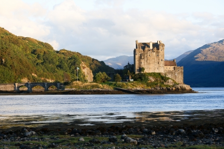 Eilean Donan Castle at twilight in Scotland, UK