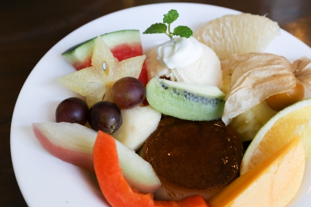 Assorted fresh tropical fruit salad