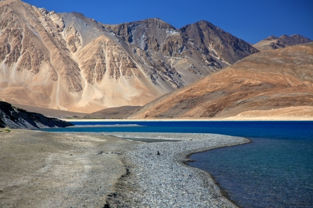 Beautiful blue Pangong Lake in Leh, Ladakh, India Stock Photo
