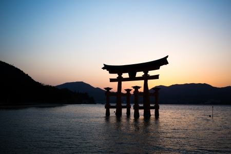 ancient japanese: Ancient japanese temple gate at itsukushima shrine, miyajima island, hiroshima, japan Stock Photo