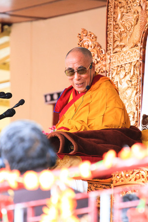 LEH, INDIA - AUGUST 5, 2012: His Holiness the 14th Dalai Lama gives teachings on August 5, 2012 at Shewatsel Grounds, Leh, Jammu and Kashmir, India. Editorial