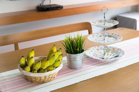 Tropical banana on a wooden decorated table top