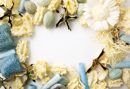Dried flowers frame with white space for any wording