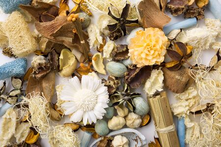 Dried scented flowers used as perfumed aroma therapy Stock Photo
