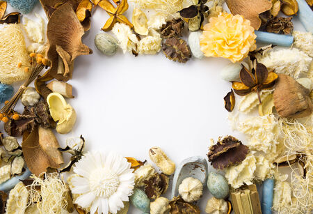 Dried flowers frame with white space for any wording photo