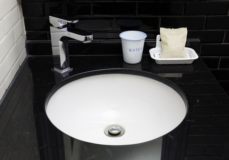 Interior of modern contemporary bathroom with sink