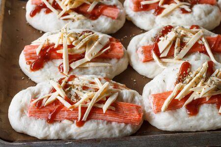 mini pizza: yeast Dough mini pizza prepare for bake