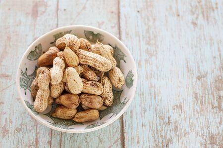 monkey nut: peanuts shell on old wood