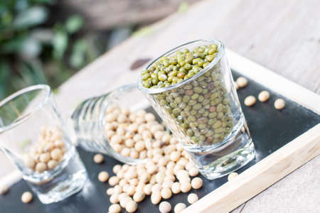 mung bean: soy bean and mung bean in glass Stock Photo