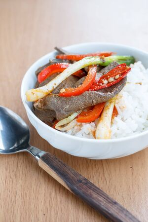 stir fried: pork liver stir fried serve with hot jasmine rice