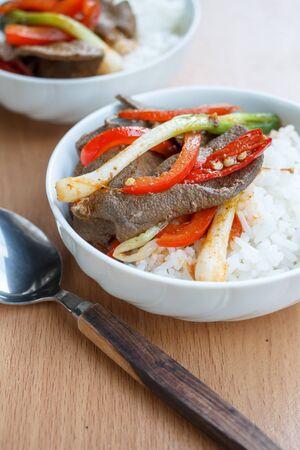 innards: pork liver stir fried serve with steam rice