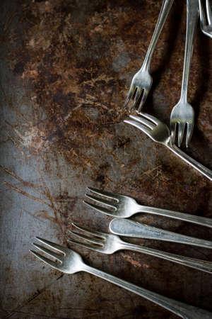 grunge flatware: old fork still life image