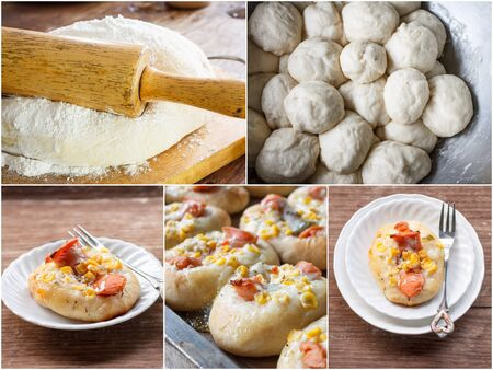 yeast: Bread : Collage of sweet yeast dough bread Stock Photo