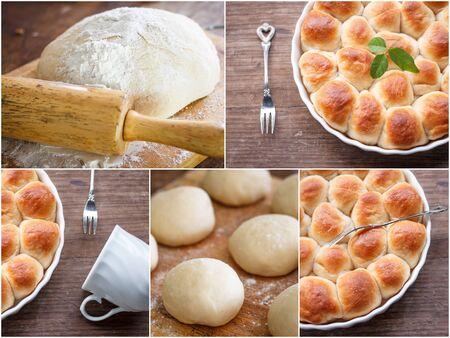 levadura: Pan: Collage de dulce de levadura masa de pan