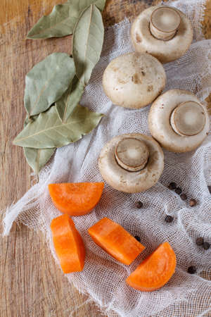 bay leaf: mushroom with carrot and bay leaf for cook