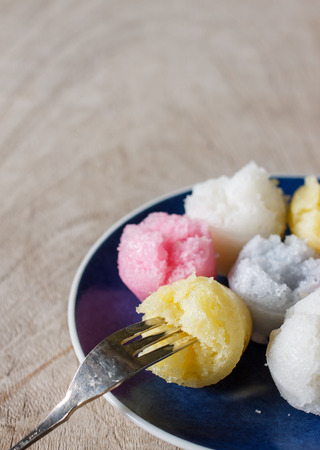 sweats: Khanom thuay fu or Steamed Cup Cake is Thailand dessert Stock Photo