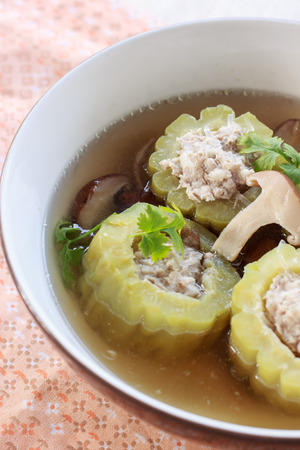 Stuffed bitter gourd with minced pork in clear soup 스톡 콘텐츠